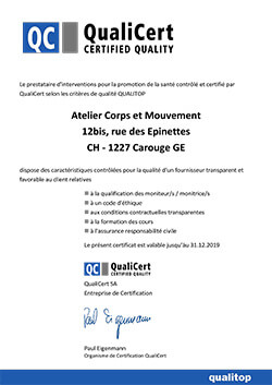 Certification Qualicert Pilates Genève